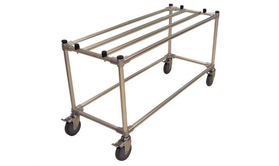 THR-100 Aluminum Display Cart Large six-inch wheels roll with ease